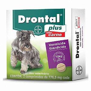 Vermífugo Drontal Plus 10kg Sabor Carne 2 Comprimidos –Bayer