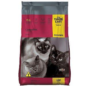 Ração Three Cats Original Gatos Castrados Sabor Carne 3kg - Hercosul