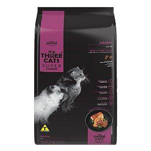 Ração Three Cats Super Premium Gatos Adultos Salmão, Frango e Carne 3kg - Hercosul