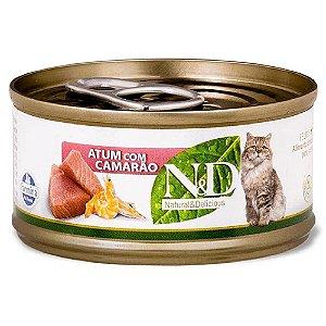 Ração Úmida N&D Lata Gatos Sabor Atum com Camarão 70g