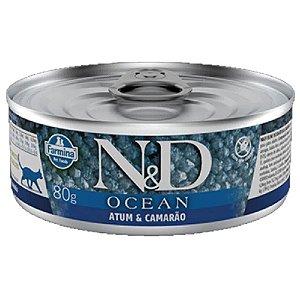 Ração Úmida N&D Ocean Lata Gatos Sabor Atum Camarão 80g