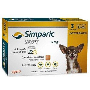 Simparic Antipulgas 5mg 1,3 a 2,5kg Cx 3 Comprimidos