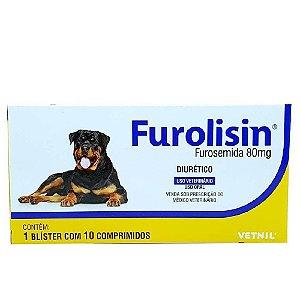 Furolisin 80mg Diurético Cães e Gatos 10 Comprimidos - Vetnil