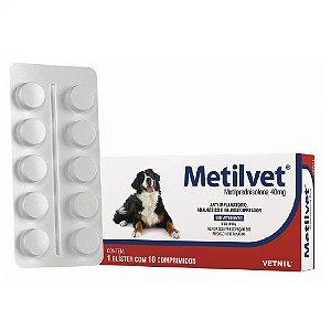 Anti-Inflamatório Metilvet 40mg Cães e Gatos 10 Comprimidos - Vetnil