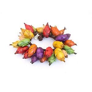Pulseira de flor de inajá com crochê