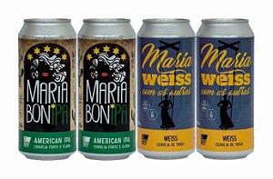Pack 9: 2 latas da Maria BonIPA e 2 latas da Maria WEISS Com As Outras - 473ml cada