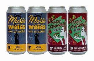 Pack 15: 2 latas da Maria WEISS Com As Outras e 2 latas da Maria CATHARINA SOUR Framboesa - 473ml cada