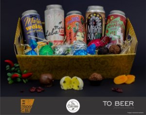 Cesta Harmonização Premium: 5 latas de cerveja com 20 chocolates - ABC Paulista e São Paulo-SP