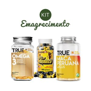 Kit Emagrecimento 2 Omega 3, Stacker2 Yellow Hornet, Maca Peruana True Source