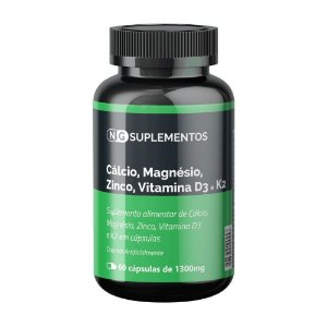 Cálcio + MG + Zinco + Vit. D3 = Vit. K2 1300mg com 60 CAPS NG Suplementos