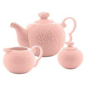 Conjunto para Chá Butterfly com 3 Peças Rosa - Bon Gourmet