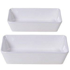 Kit de Travessas Refratária Línea em Porcelana 2 Pcs Branco