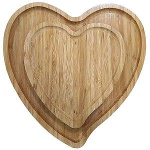 Kit com 2 Bandejas de Bambu Formato Coração – Interponte