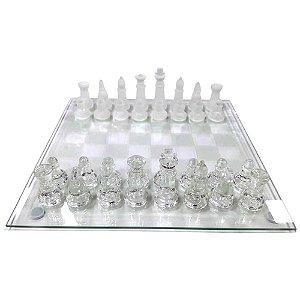 Jogo de Xadrez de Vidro Luxo 25x25 32 Peças - Imporiente