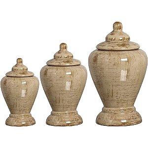 Kit 3 Vasos em Cerâmica Siena com Tampa Palha Fumê - Pegorin
