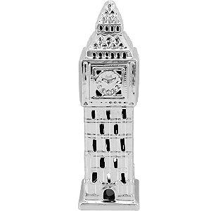 Estatueta Big Ben Prata Cerâmica 35x11cm - Cs