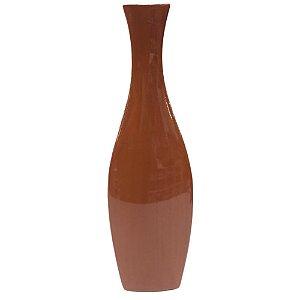 Vaso Decorativo Alto Madeira Brilho 38cm - Ana Maria