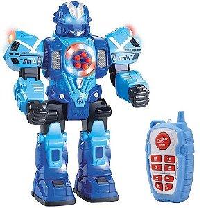 Robô Atira Bala com Controle Remoto com Som e Luzes - Azul