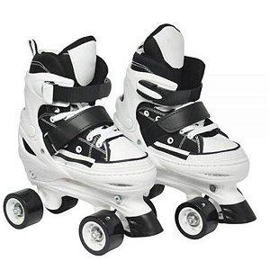 Patins Infantil 4 rodas Ajustável Preto com freio - DM Toys