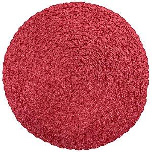 Kit com 8 Jogos Americanos Redondos Decoração Vermelho 38 cm
