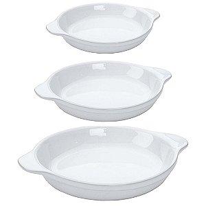Kit Travessas Refratárias Oval em Cerâmica Branco - 3 Peças