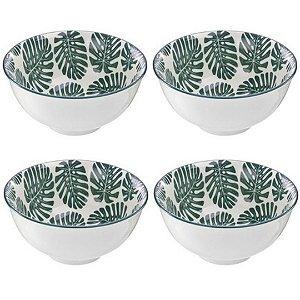Kit de Bowls Costela de Adão em Cerâmica 450ml Verde –  4 Peças