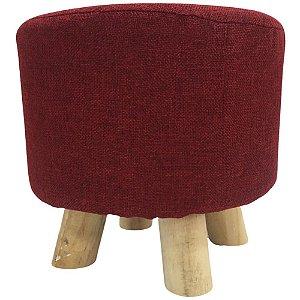 Puff Decorativo Redondo com Capa Removível Ø28cm – Vermelho