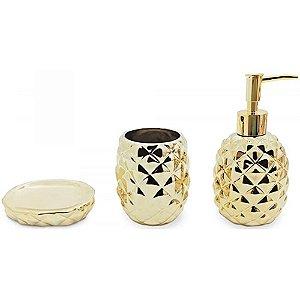 Conjunto de Banheiro Lunar Abacaxi Dourado 3Pçs - Mimo Style