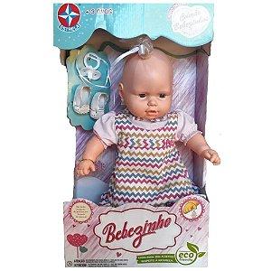 Boneca Bebezinha com Vestido Colorido e Chupeta - Estrela