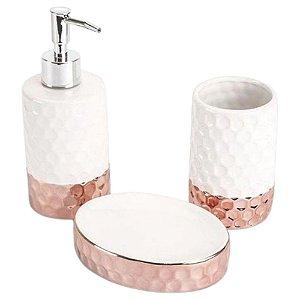 Jogo de Banheiro Elegance em Cerâmica 3 Peças Rose - Jolitex