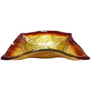 Centro de Mesa Quadrado em Vidro Dourado - Luca Millani