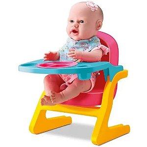 Boneca Bebê New Born Primeira Papinha com Acessórios