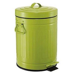 Lixeira Retro Verde com Pedal 3 Litros Ferro - IMPORIENTE