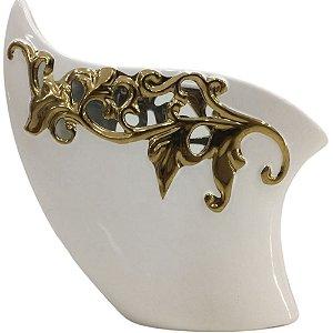 Vaso Decorativo Branco e Dourado 26cm em Cerâmica