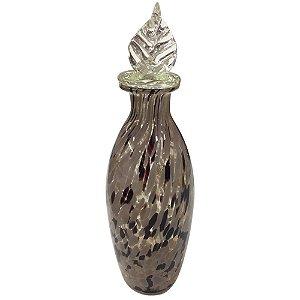 Vaso Decorativo c/Tampa em Vidro Marrom Estampado 30cm