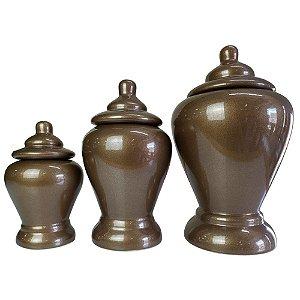 Conjunto de Potes Siena em Cerâmica 3 Peças Bronze Pegorin