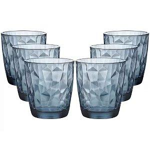 Jogo com 6 Copos Azul Diamond Vidro 390ml - DAYHOME