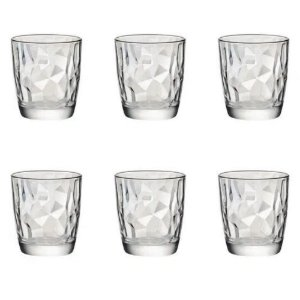 Jogo com 6 Copos Transparente Diamond Vidro 390ml - DAYHOME