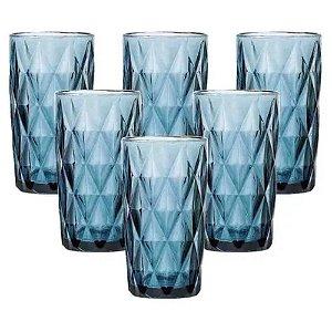 Jogo com 6 Copos Diamond Vidro 340ml Azul - ETILUX