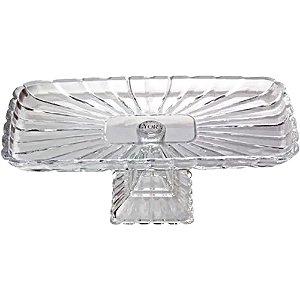 Prato para Bolo Cristal Quadratta Lyor 36cm Transparente