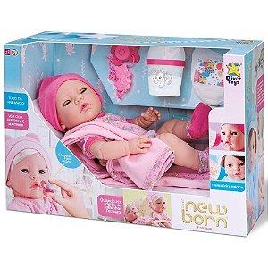 Boneca Reborn Menina sem Cabelo com 6 Acessórios New Born