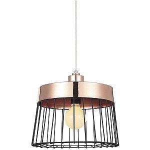 Lustre Pendente em Ferro e Arame Adely Lighting Preto/Cobre