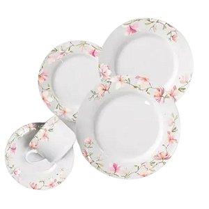 Aparelho de Jantar e Chá 20 Peças Cerâmica Branco - WELLMIX