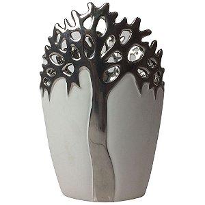 Vaso Decorativo Branco/Prata 28cm em Cerâmica - LEAO DE JUDA
