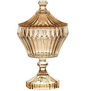 Potiche com Pé De Cristal Renaissance Âmbar Ø17,5cm Lyor