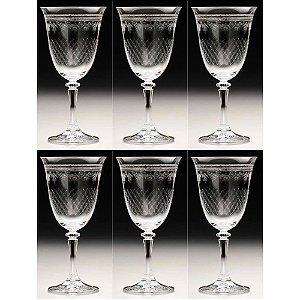 Jogo com 6 Taças Cristal Kleopatra Pantografada 250ml ROJEMAC
