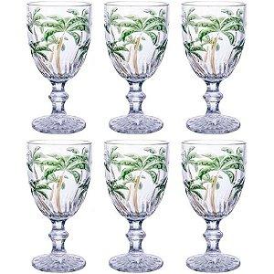 Jogo de Taças Palm Tree Color 260ml 6 Peças Class