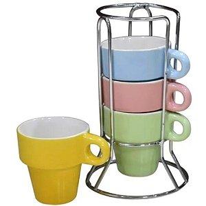 Jogo de 4 Xícaras Colors Pastel para Chá com Suporte 210ml