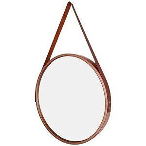 Espelho Decorativo Redondo Rose com Alça Marrom Ø60cm - FWB