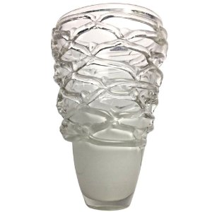 Vaso Decorativo Alto Relevo Branco 28cm Vidro - BELLA VITA